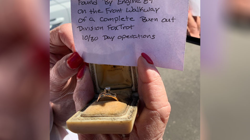 Firefighters return ring 'rescued' from Getty Fire, learn heirloom survived another blaze in 1961