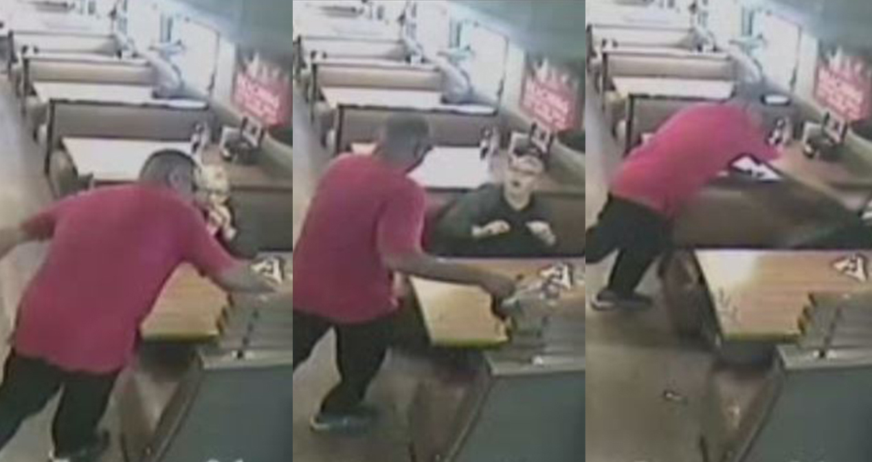 Man attacks IHOP customers with coffee pot in surveillance footage