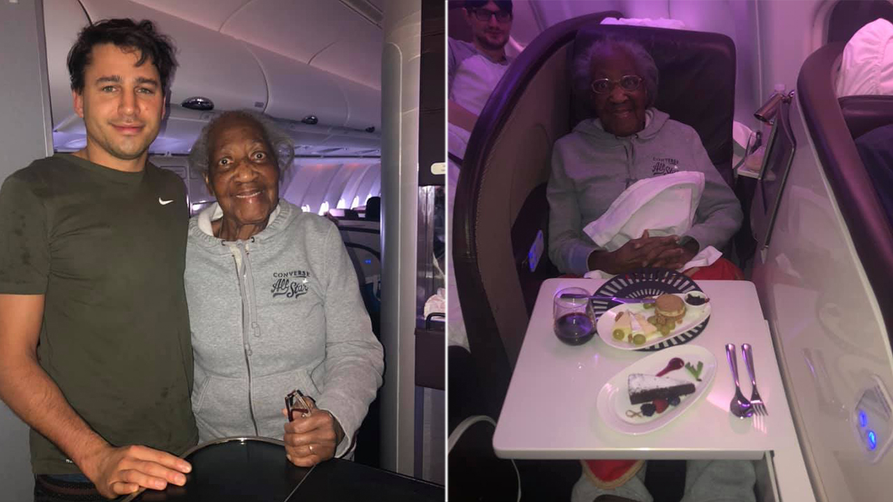 Plane passenger gives first-class seat to 88-year-old woman, makes her 'dream' come true: 'No one asked him...