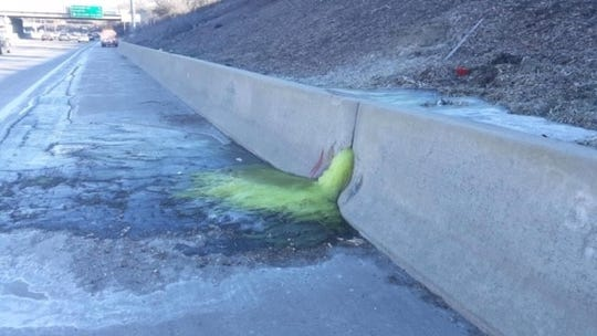 Michigan interstate's mysterious green ooze identified, police say