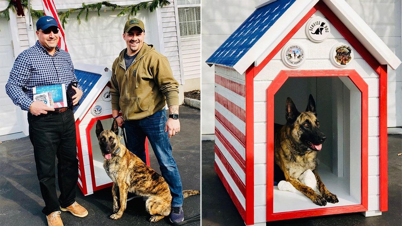 New Jersey Polizei, Hund, Army vet partner akzeptieren gespendet Vaterländischen Hundehütte