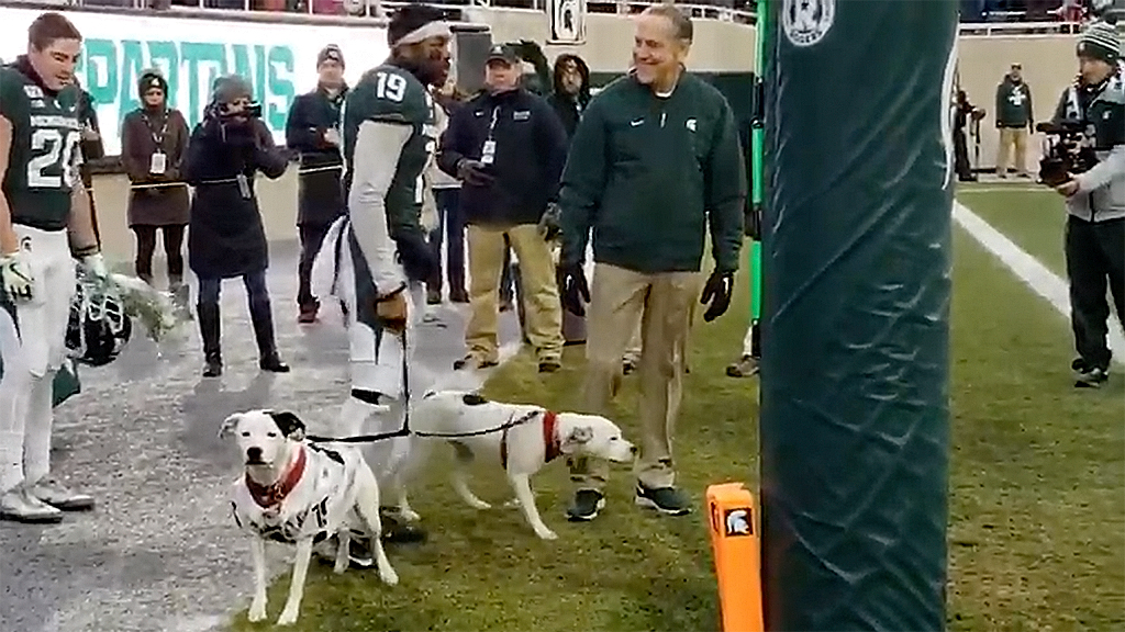 Michigan State Senior Day featured 2 dogs CB Josh Butler adopted after loss of parents