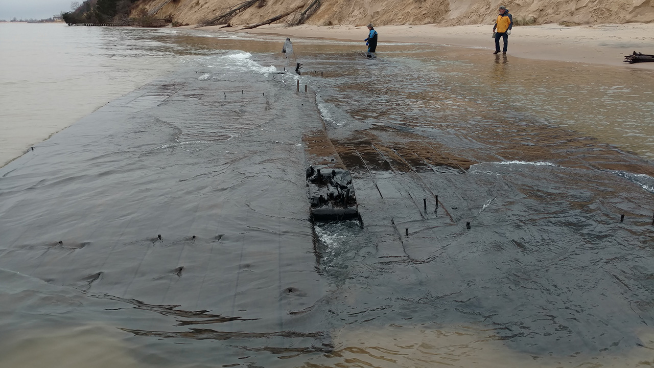 Mysterious shipwreck uncovered in Lake Michigan storm surge