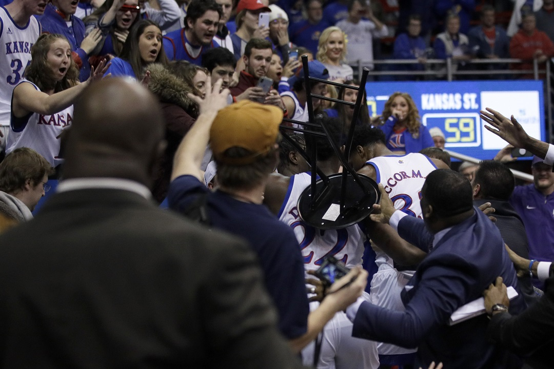 Westlake Legal Group AP20022079990136 Kansas, KSU game ends in massive brawl after late block Louis Casiano fox-news/us/us-regions/midwest/kansas fox-news/sports/ncaa/kansas-state-wildcats fox-news/sports/ncaa/kansas-jayhawks fox-news/sports/ncaa-bk fox news fnc/sports fnc article 96f51329-df53-561c-87e9-ba7f74418a4e