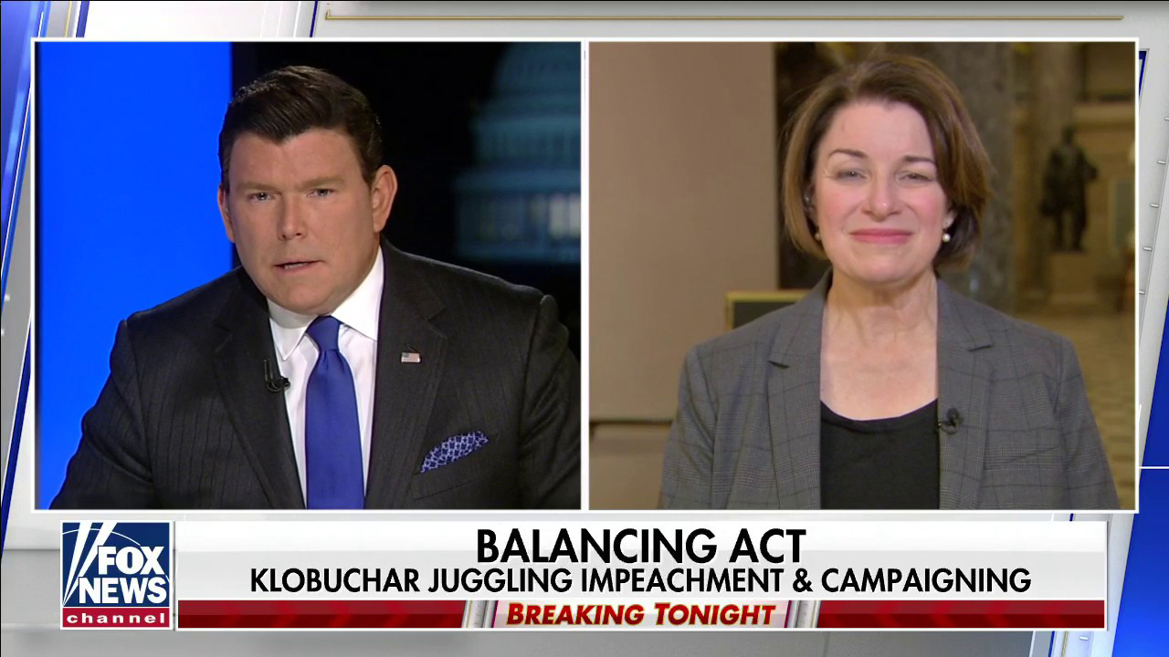 Westlake Legal Group BaierKlobuchar Amy Klobuchar reacts to vote against witnesses in Senate impeachment trial Victor Garcia fox-news/shows/special-report fox-news/politics/trump-impeachment-inquiry fox-news/person/amy-klobuchar fox-news/media/fox-news-flash fox-news/media fox news fnc/media fnc article 5371f73f-d377-5190-ae28-81589537db62
