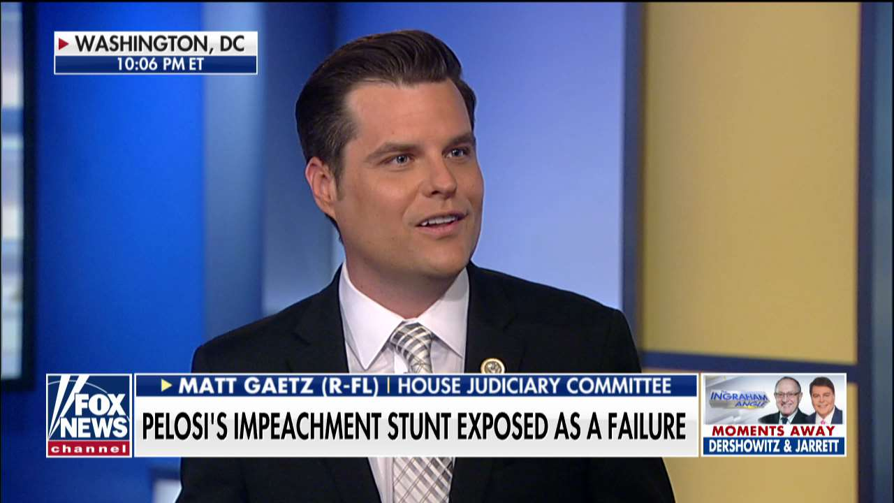 Westlake Legal Group ENC3_132234447962040000 Matt Gaetz: Pelosi's talks with Dems will be 'more tense than a family meeting at Buckingham Palace' fox-news/us/us-regions/southeast/florida fox-news/shows/ingraham-angle fox-news/politics/trump-impeachment-inquiry fox-news/politics/house-of-representatives/democrats fox-news/person/nancy-pelosi fox-news/person/donald-trump fox-news/media/fox-news-flash fox-news/media fox news fnc/media fnc Charles Creitz article 87f485ee-ccf9-5d6a-a5b3-68b7838fb55d