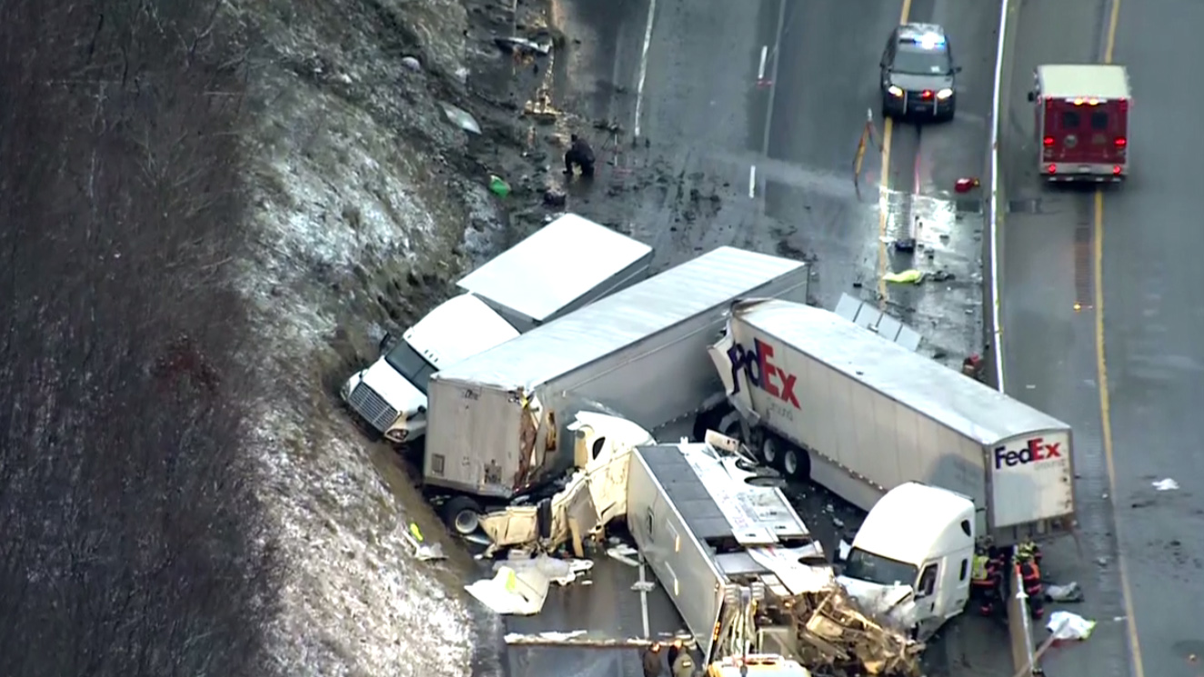 Pennsylvania Turnpike crash involving tour bus, semi-trucks leaves multiple dead; highway closed