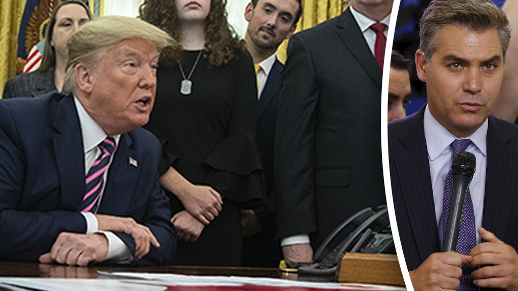 Trump scolds CNN's Jim Acosta for trying to disrupt Oval Office news conference: 'Quiet' thumbnail