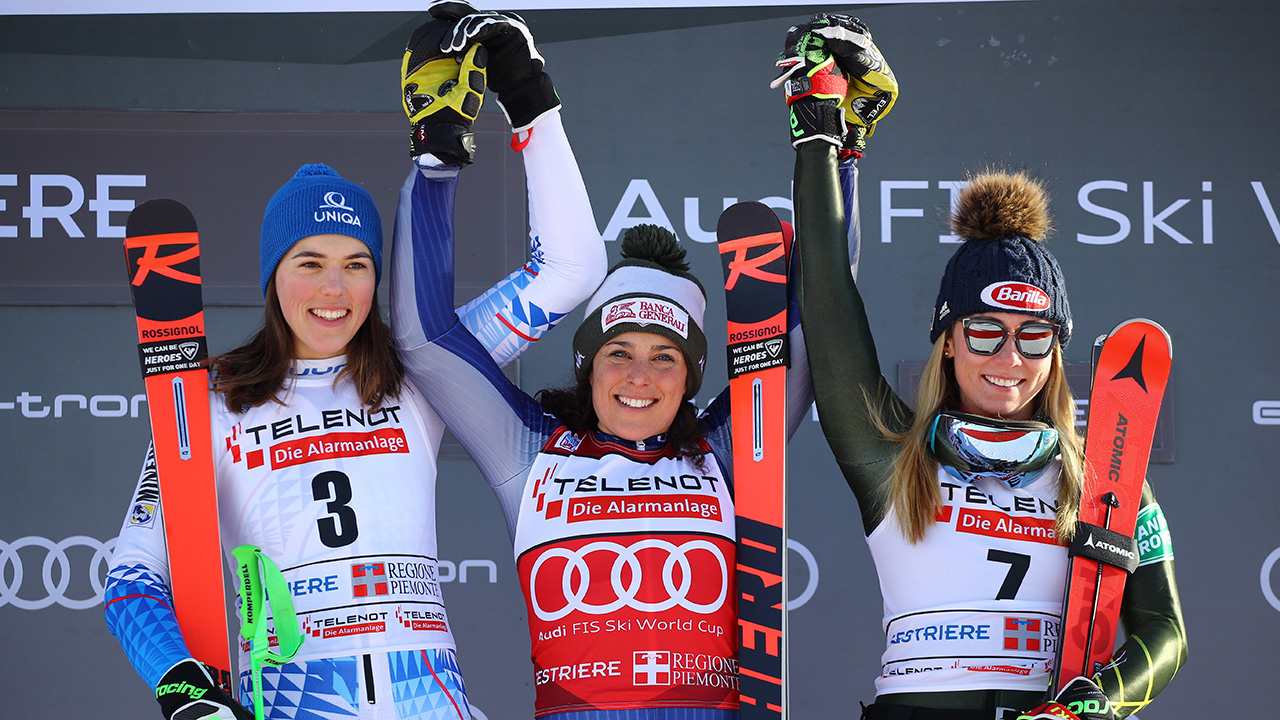 Brignone und Vlhova Anteil GS gewinnen, mit 0,01 Vorsprung auf Shiffrin