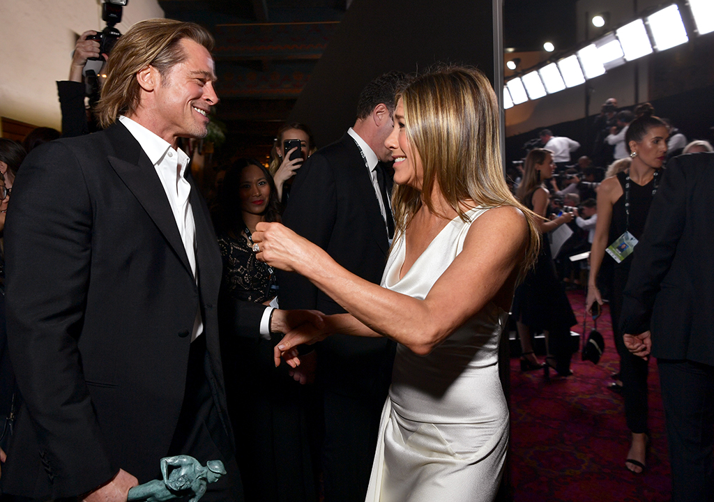 Westlake Legal Group annistonpitt-cropped-1111pm Exes Jennifer Aniston and Brad Pitt reunite backstage at SAG Awards 2020 New York Post Lindsey Kupfer fox-news/person/jennifer-aniston fox-news/entertainment fnc/entertainment fnc article 225a26ca-45d9-5427-a949-8f76197b6fae