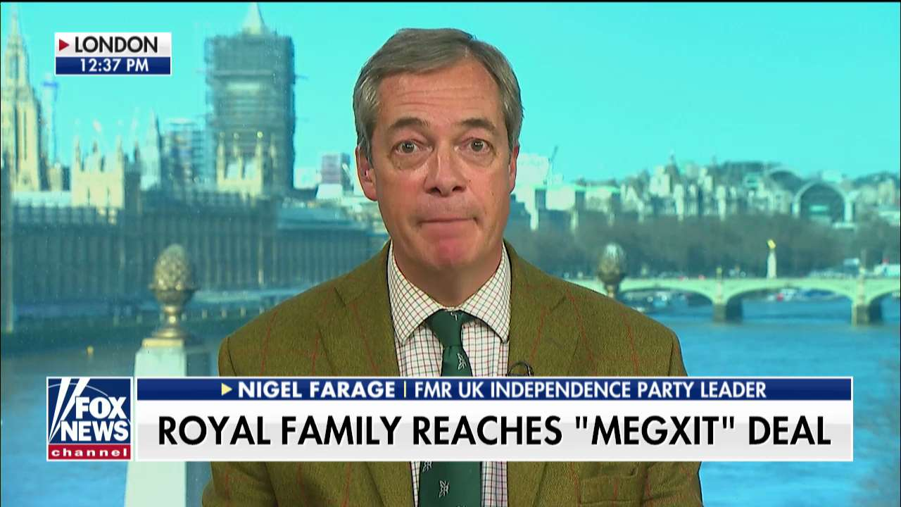 Westlake Legal Group mexit- Nigel Farage on Prince Harry, Meghan Markle no longer using royal titles: Queen 'acted decisively' Talia Kaplan fox-news/world/world-regions/united-kingdom fox-news/world/personalities/queen fox-news/world/personalities/british-royals fox-news/topic/royals fox-news/shows/fox-friends-weekend fox-news/person/prince-harry fox-news/media/fox-news-flash fox-news/entertainment/celebrity-news/meghan-markle fox news fnc/media fnc article 2b63ccea-25e3-58c5-915c-47dc3a501f75