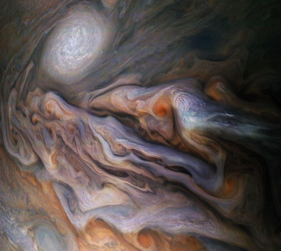 NASA's Juno captures stunning Jupiter image showing 'white oval' storm