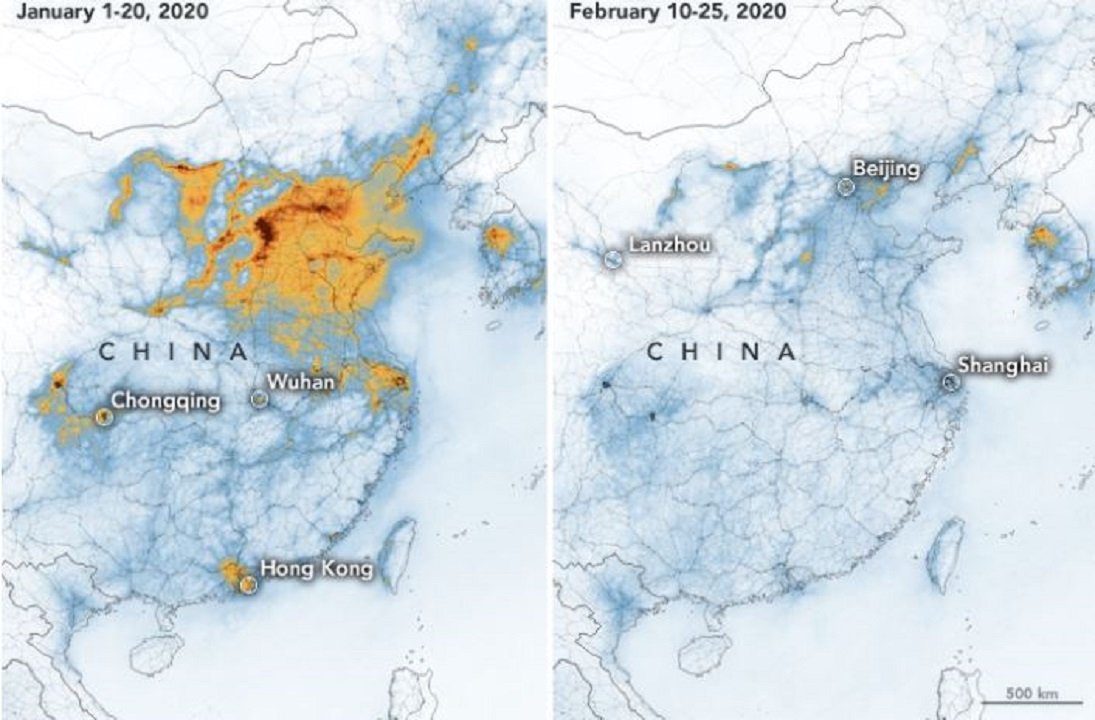 Over China, cornavirus coincides with plummet in nitrogen dioxide