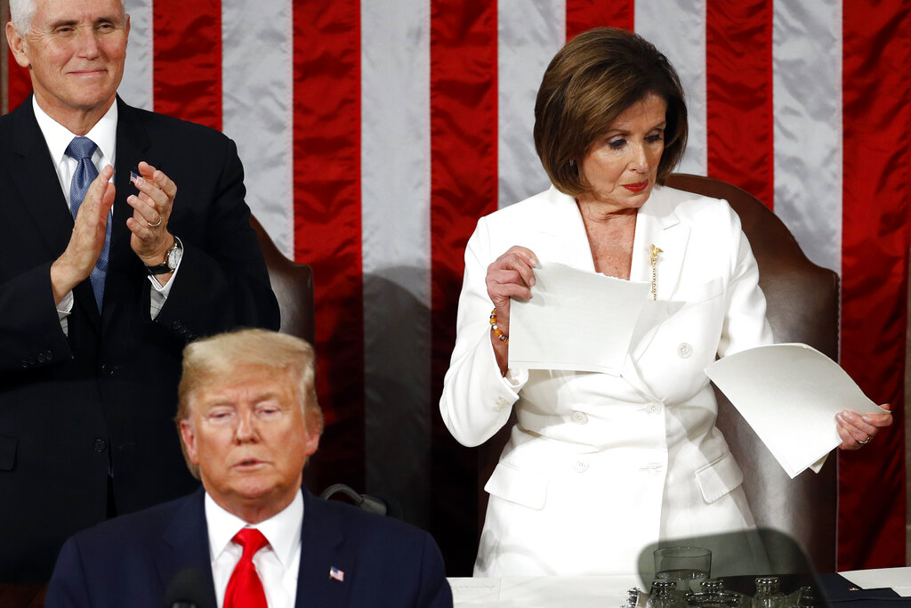 Pelosi, Trump clash on morning after impeachment verdict
