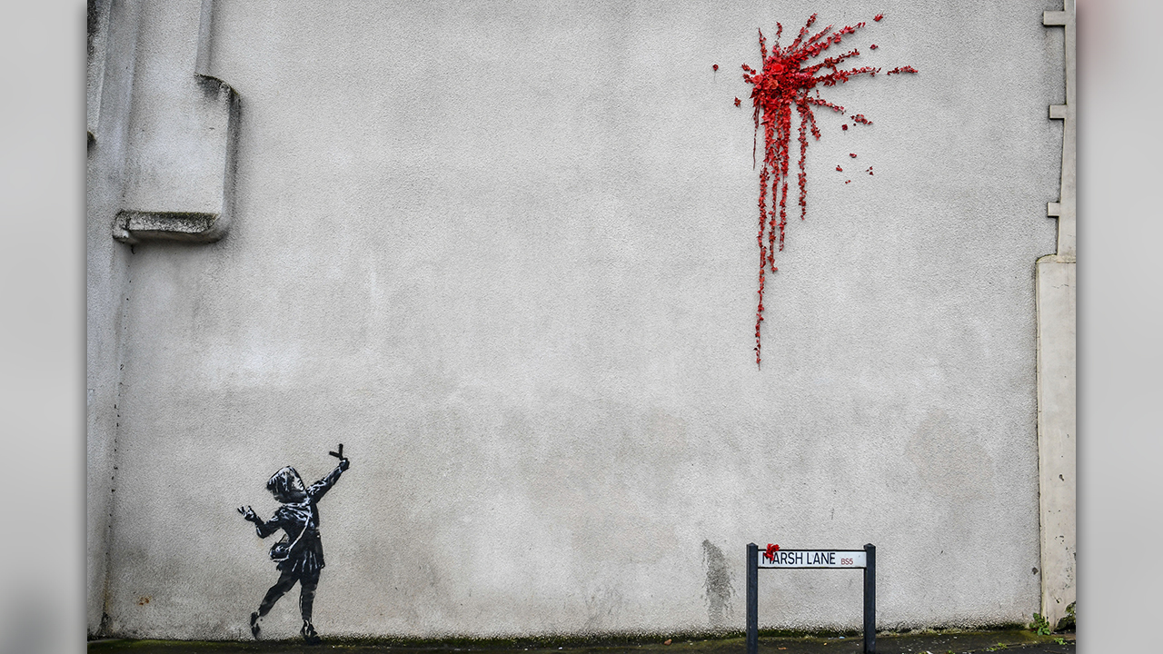 Banksy Valentine's Day artwork found on England home