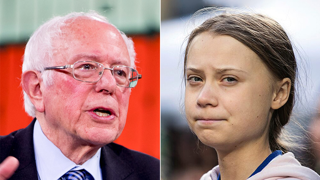 Bernie Sanders Greta Thunberg AP.'