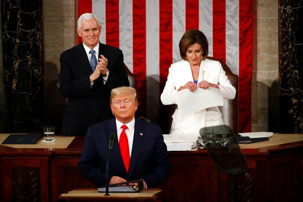 Pelosi`s SOTU antics disgraced and discredited the...