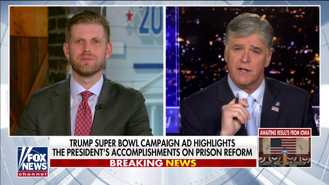 Westlake Legal Group Video-11 Eric Trump: Critics were 'enraged' by Super Bowl ad because president did what Democrats haven't fox-news/us/crime/police-and-law-enforcement fox-news/shows/hannity fox-news/politics/executive/law fox-news/politics/executive/first-family fox-news/person/donald-trump fox-news/media/fox-news-flash fox-news/media fox news fnc/media fnc Charles Creitz article 12917fa6-8a8c-595f-9d12-978d22b55f1c