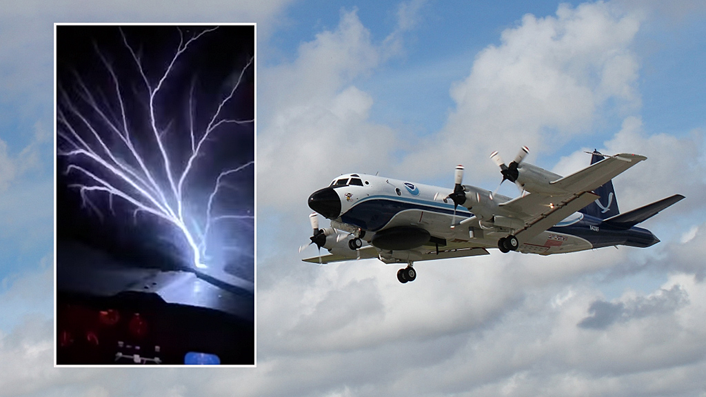 Rare weather phenomenon 'St. Elmo's Fire' captured by hurricane hunter aircraft in North Atlantic