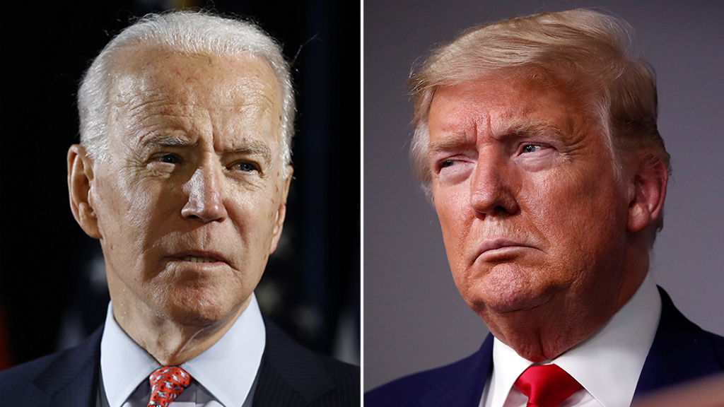Trump praises, then dings Biden during coronavirus briefing: