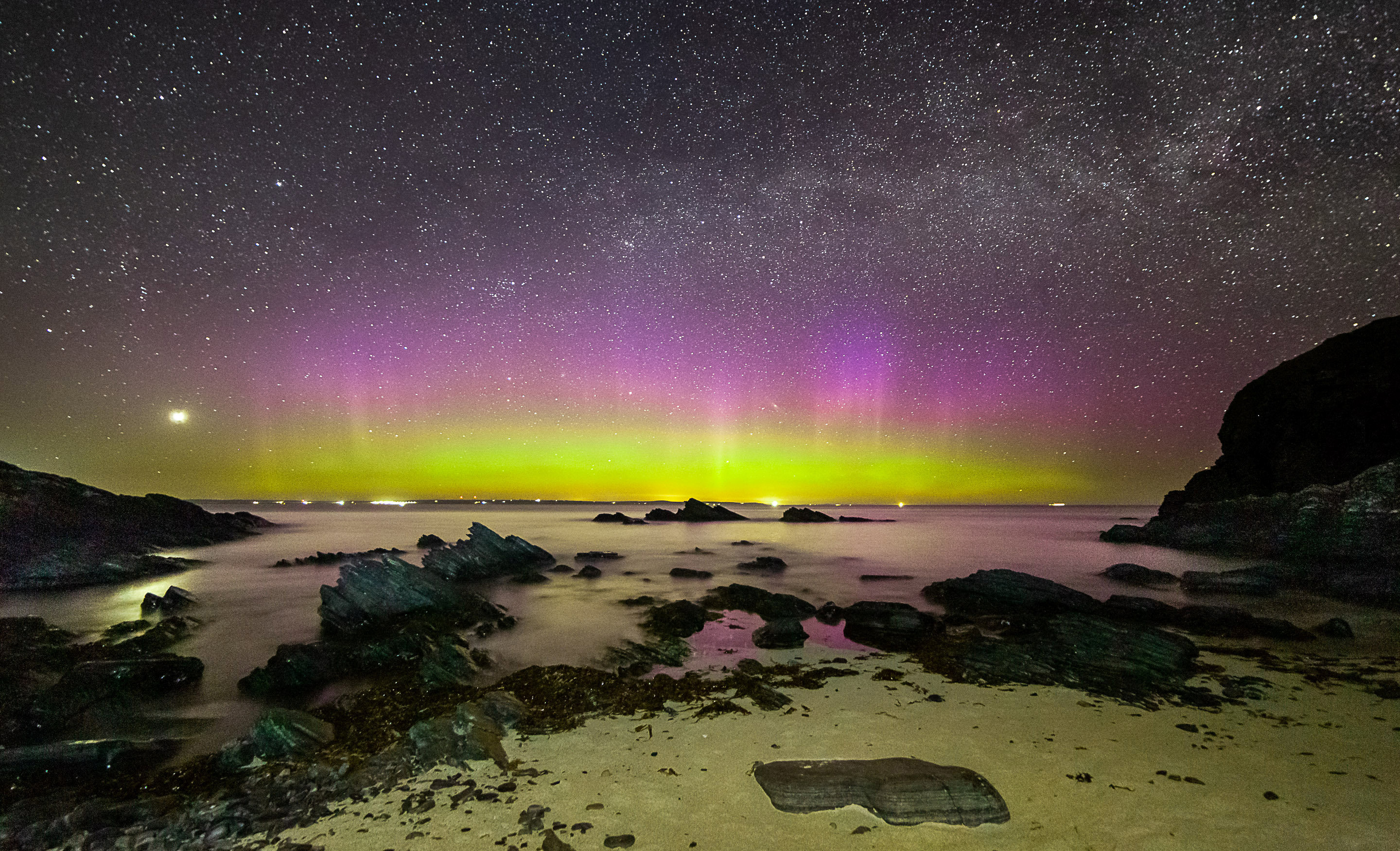 Donald trump Northern Lights shown over Scotland beach in stunning image thumbnail