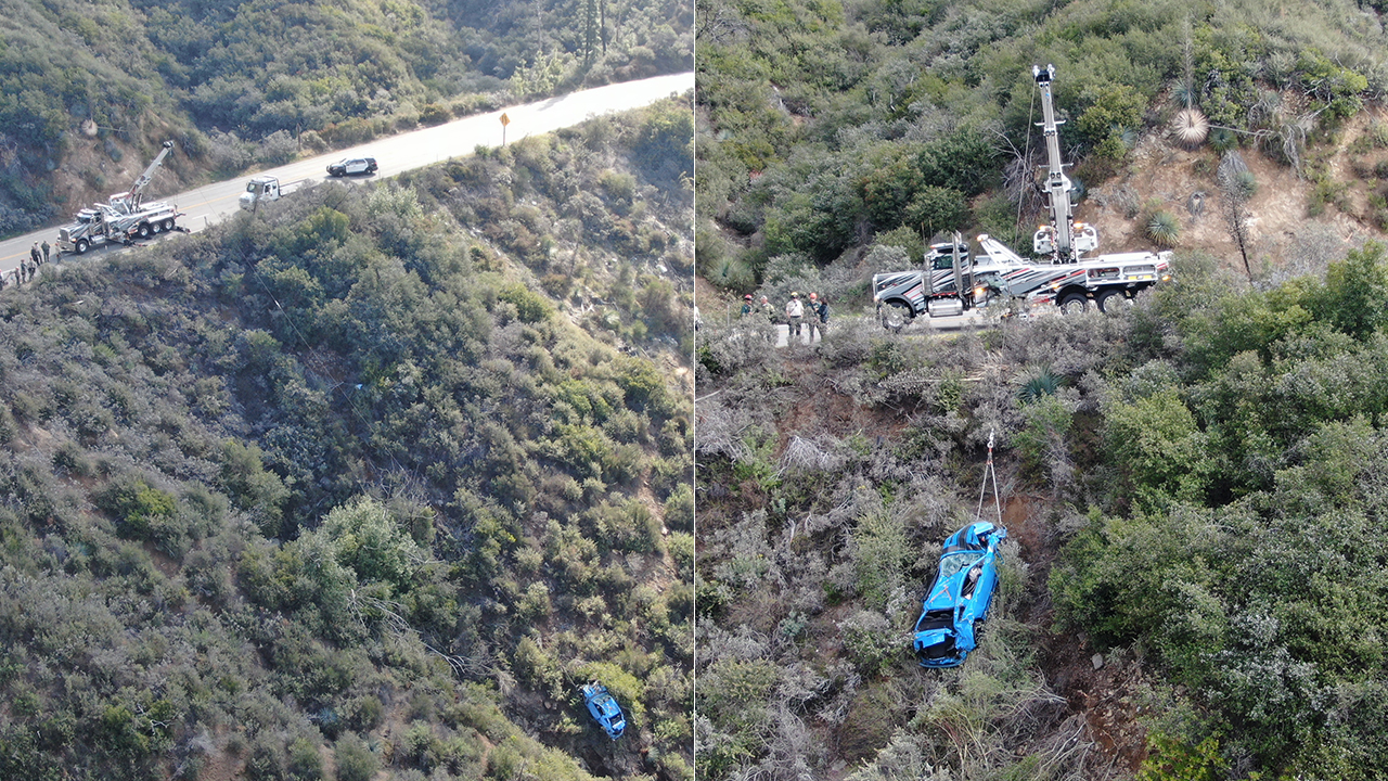 Mustang crashes off California cliff during coronavirus lockdown, gets pulled out by