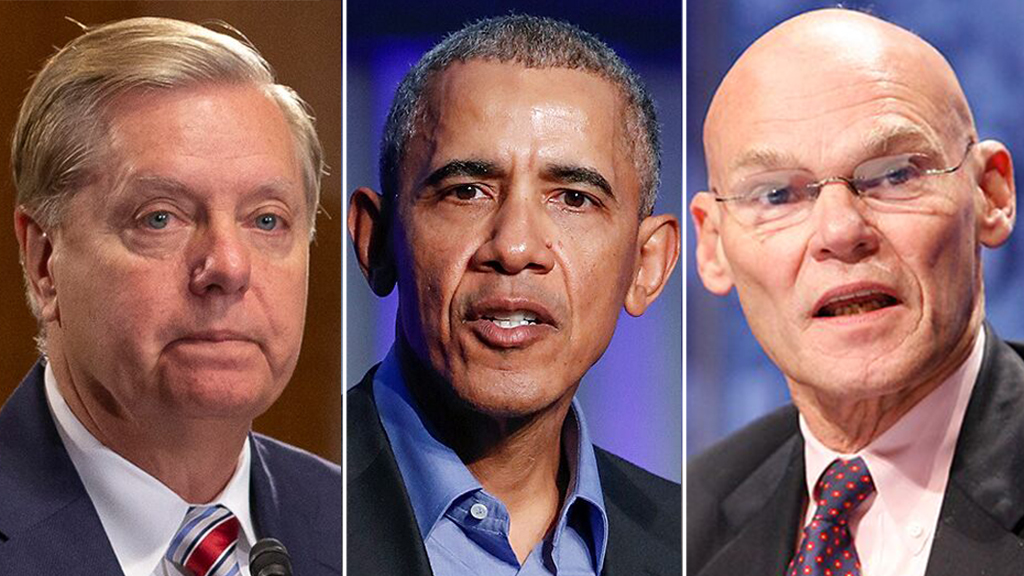 Westlake Legal Group Graham-Obama-Carville James Carville begs Graham to allow Obama's testimony, predicts it will increase Dem turnout Sam Dorman fox-news/politics/2020-presidential-election fox-news/person/lindsey-graham fox-news/person/barack-obama fox-news/news-events/russia-investigation fox news fnc/media fnc article 8181cc3c-58e0-534f-88f9-9836d8bc5110