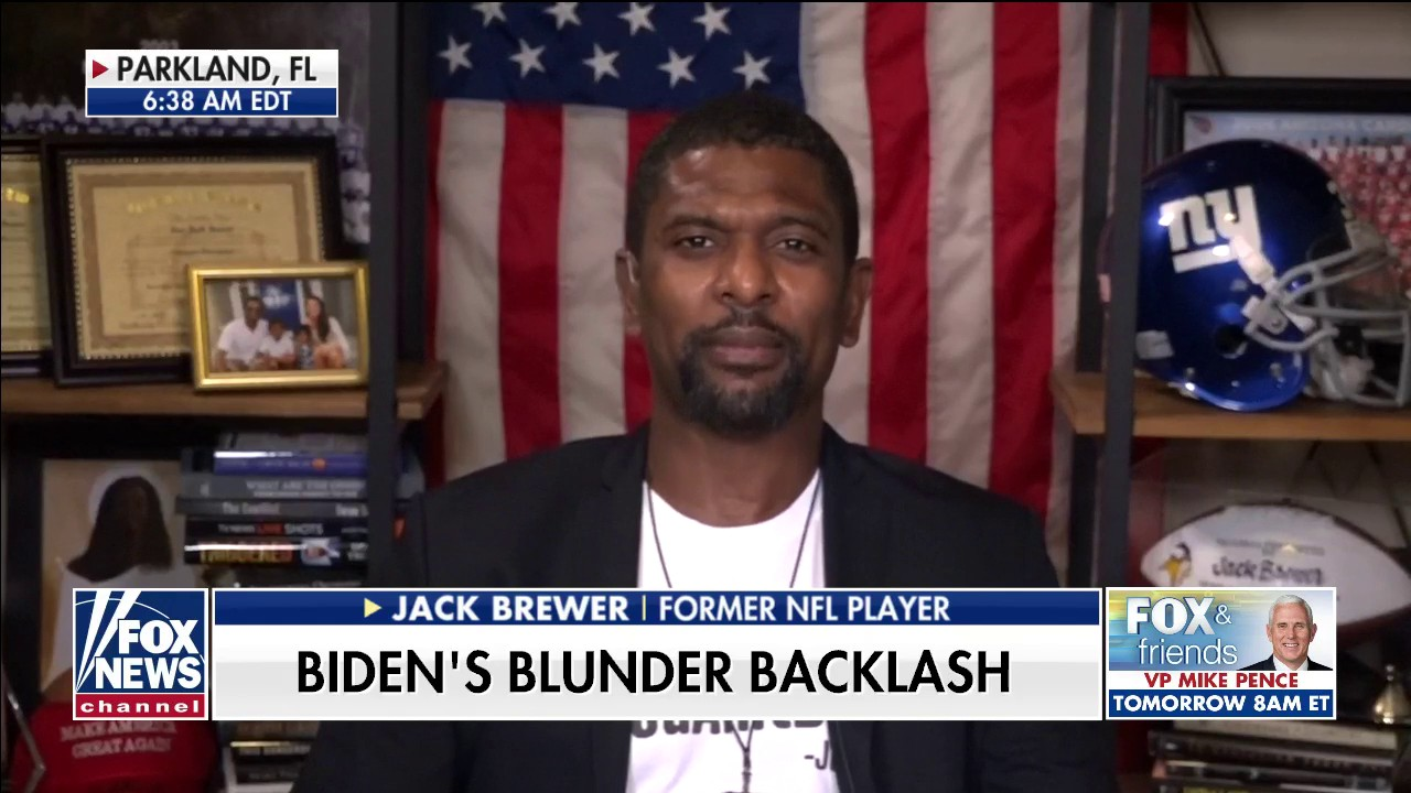 Westlake Legal Group Jack-Brewer- Former NFL player Jack Brewer on Biden backlash over black voter comment: 'The mask is off' Talia Kaplan fox-news/sports fox-news/shows/fox-friends-weekend fox-news/politics fox-news/person/joe-biden fox-news/media/fox-news-flash fox news fnc/media fnc article 0989d5a7-ca69-5ce9-ba34-bddbad35acfc