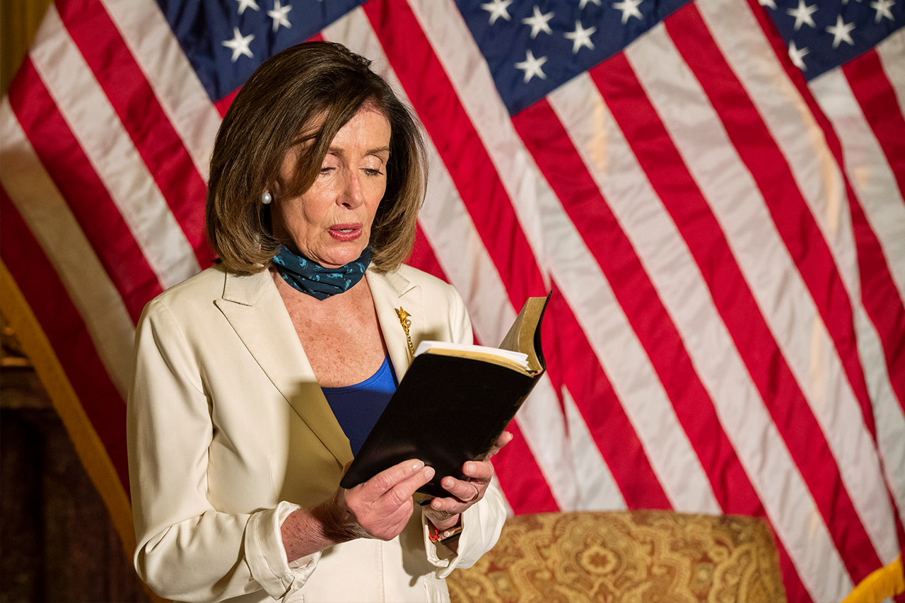 Nancy Pelosi wields Bible, quotes Bush, Obama in response to Trump