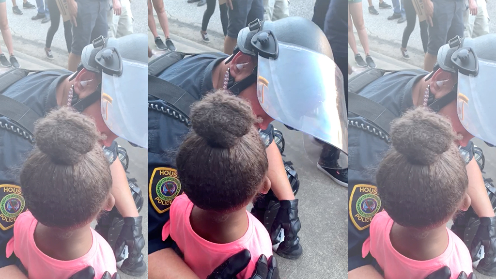 Houston cop seen comforting 5-year-old girl at George Floyd protest who asked: