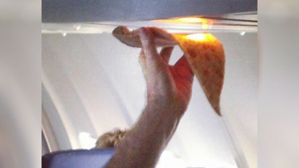 Airplane passenger appears to try to reheat slice of pizza with light midflight - fox