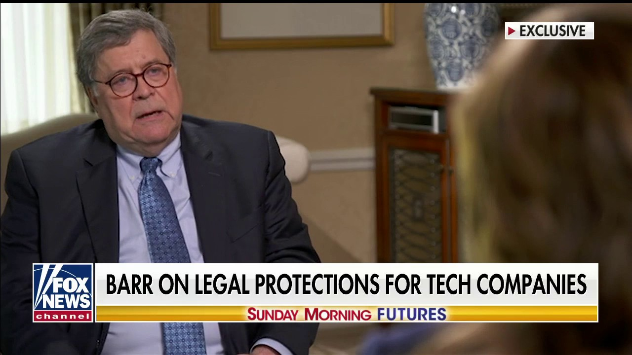 Westlake Legal Group f0cbfcd4-Barr-exclusive AG Barr on tech companies censoring viewpoints: 'There's something very disturbing about what's going on' Talia Kaplan fox-news/topic/fox-news-flash fox-news/shows/sunday-morning-futures fox-news/shows/justice-with-judge-jeanine fox-news/politics fox-news/person/william-barr fox-news/health/orthopedics/technology fox news fnc/media fnc article 65a738de-f124-5f8e-937c-874d1ffcfb18