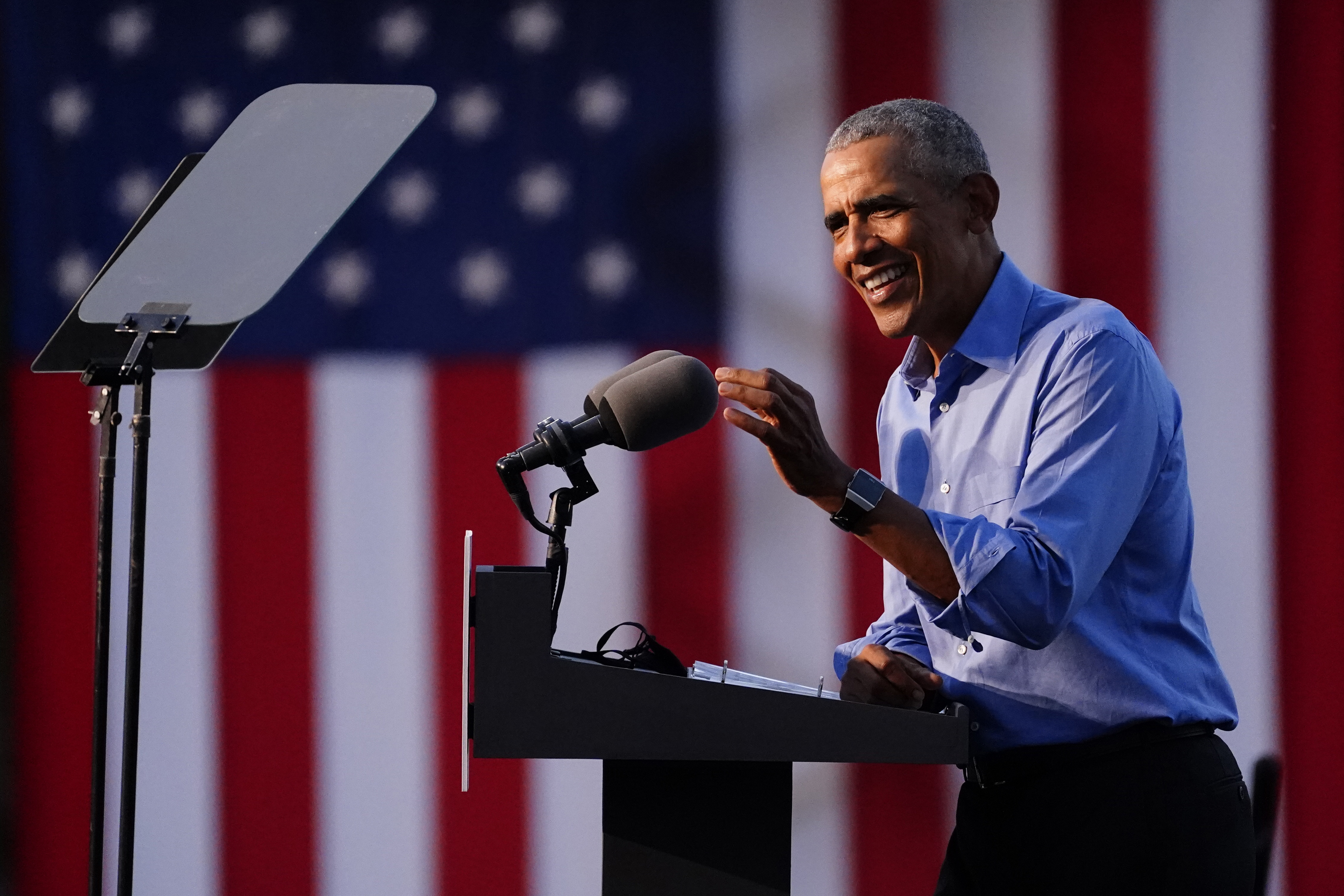 Obama slams Trump at Biden rally, warns voters 'we can't be complacent
