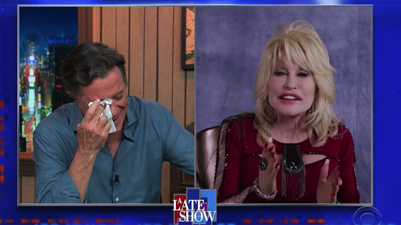 Stephen Colbert cries as Dolly Parton sings on 'The Late Show': 'I'm under a lot of stress right now'