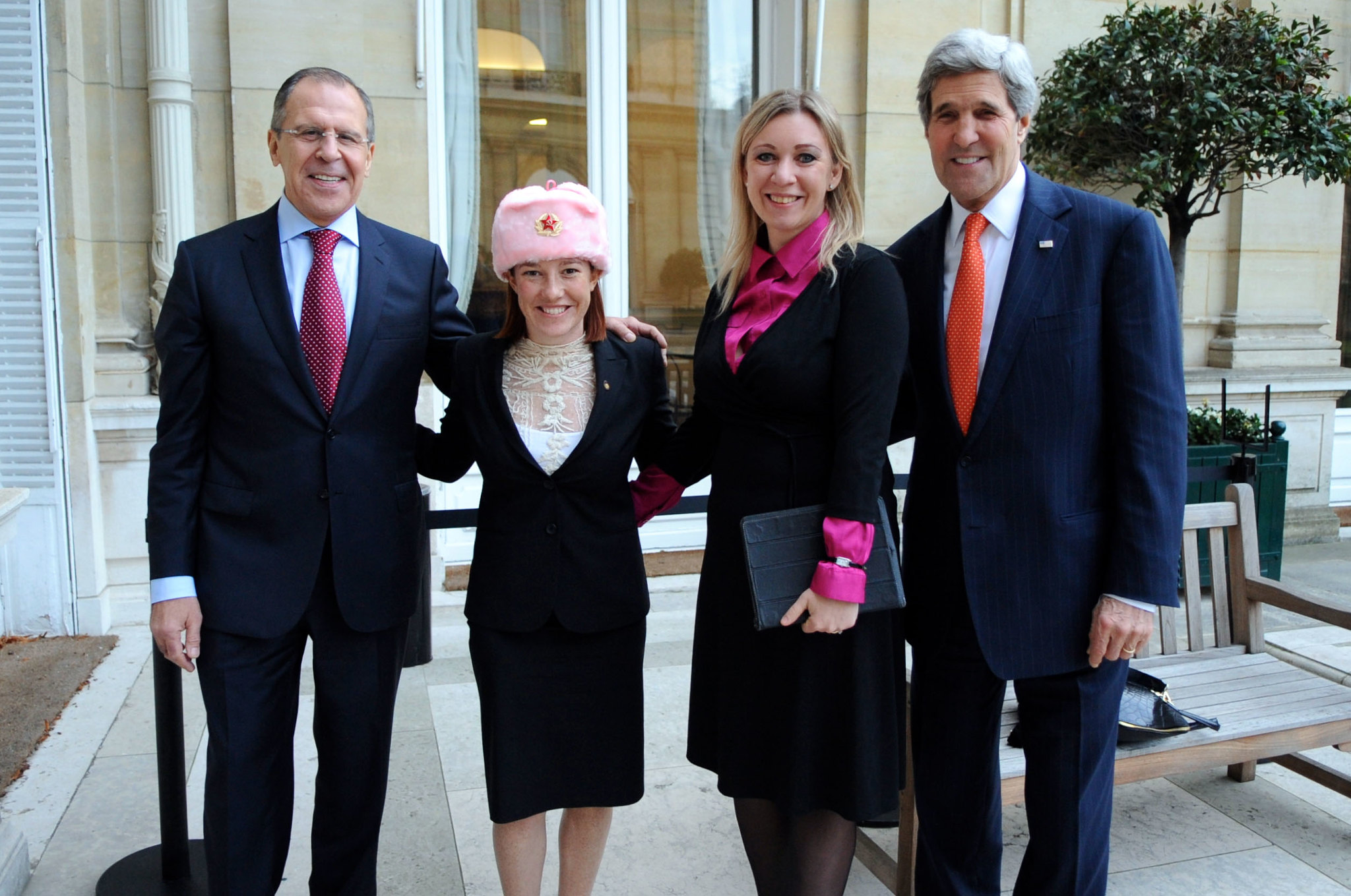Resurfaced photo shows Biden press sec Jen Psaki wearing hammer and sickle hat with Russian official