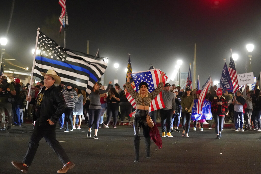 Protesters take to the streets in California to bash Newsom's curfew orders