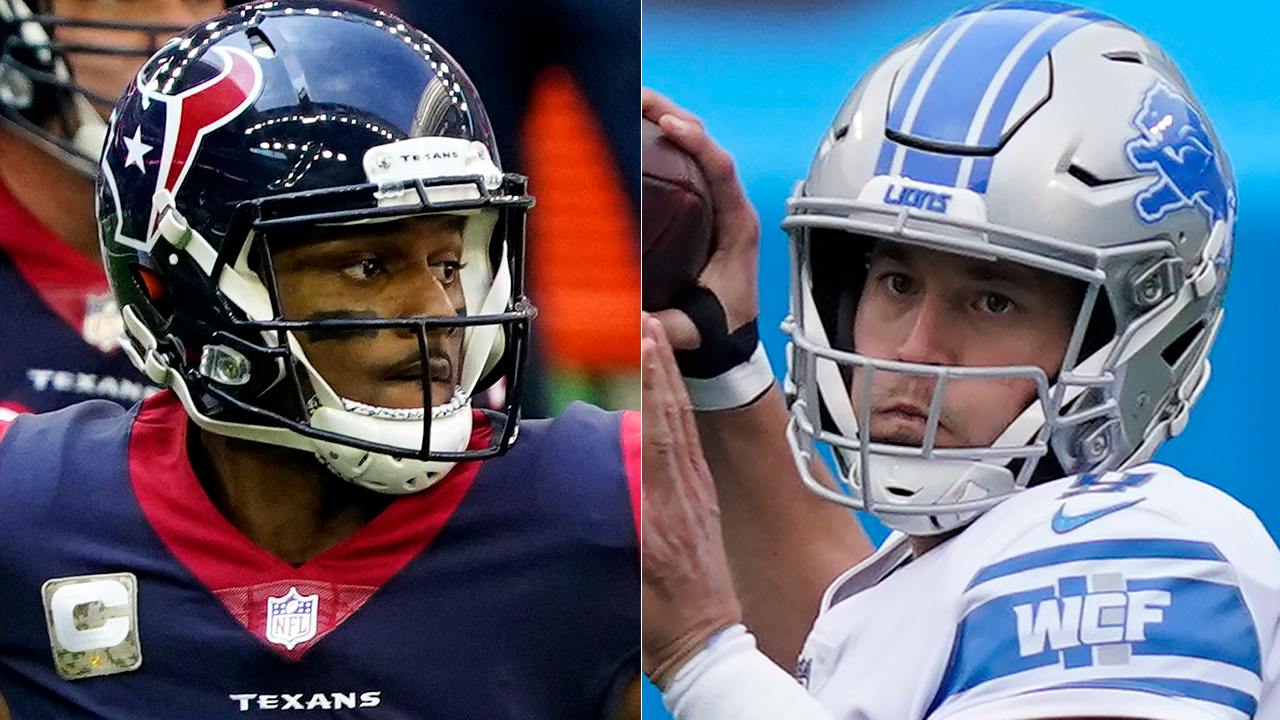 Matthew Stafford, Deshaun Watson kneel during anthem before Lions-Texans Thanksgiving game - fox