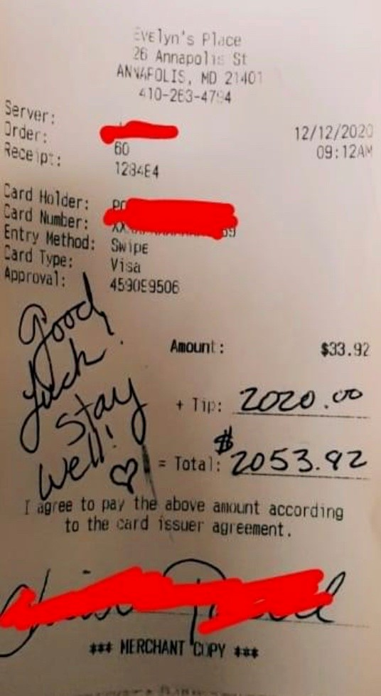 Image of article 'Maryland waitresses shocked with $2,020 tip before indoor dining closes in county'