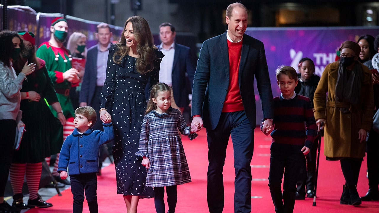 Royal kids George Charlotte Louis make red carpet debut with Prince William Kate Middleton at show – Fox News