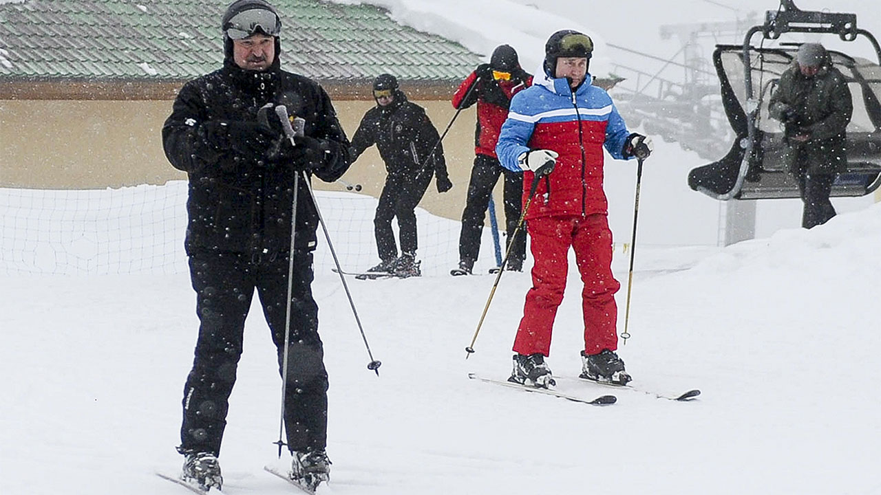 Russia's Putin, Belarus' Lukashenko spark backlash for skiing, snowboarding during mass protests