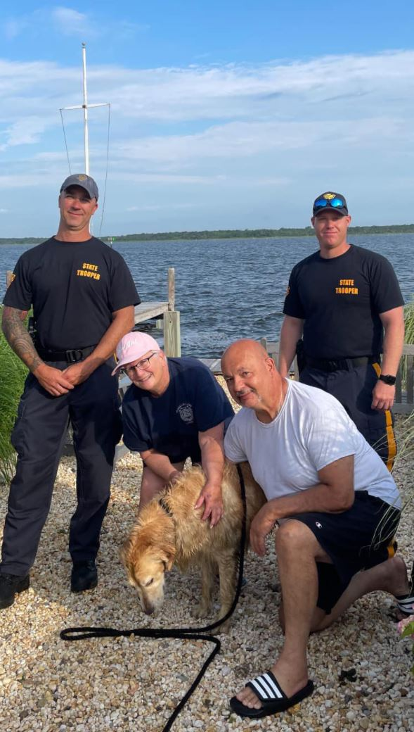 Golden retriever missing for 2 weeks found swimming in NJ bay; rescued by state police