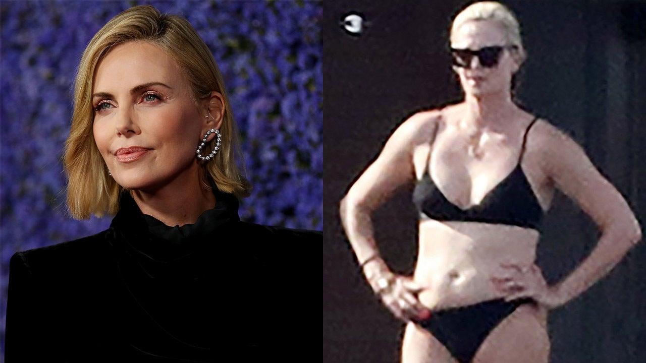 Charlize Theron soaks up some sun in black bikini while yachting in Greece