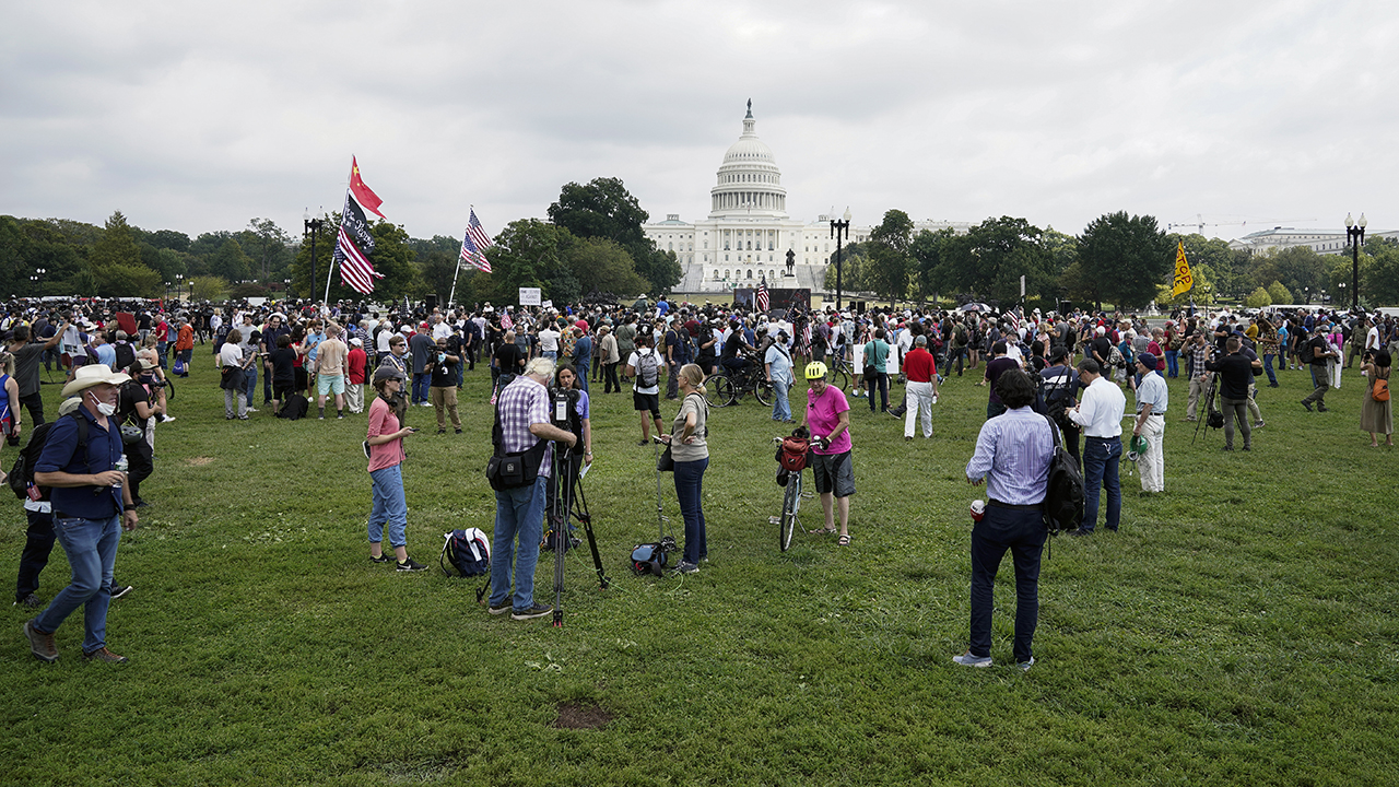 Police and media outnumber 'Justice for J6' protesters at Capitol Hill rally