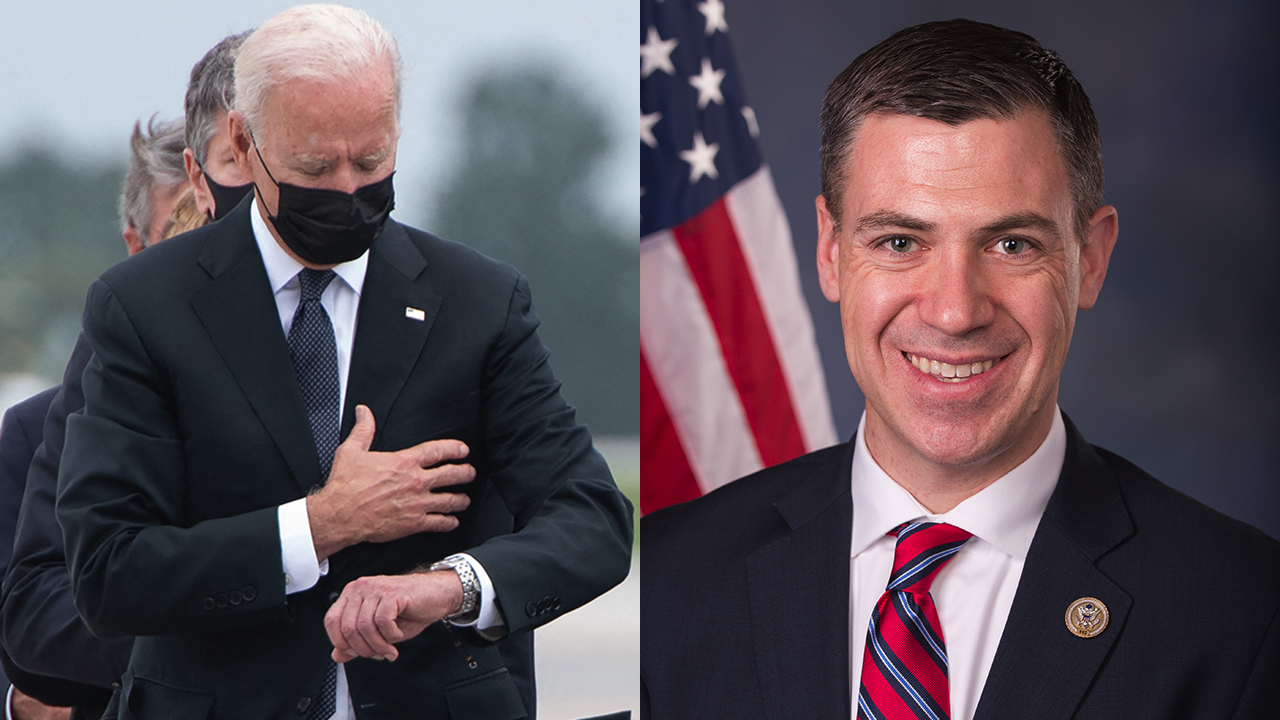 Republican lawmakers jab Biden with hallway posters of president checking watch