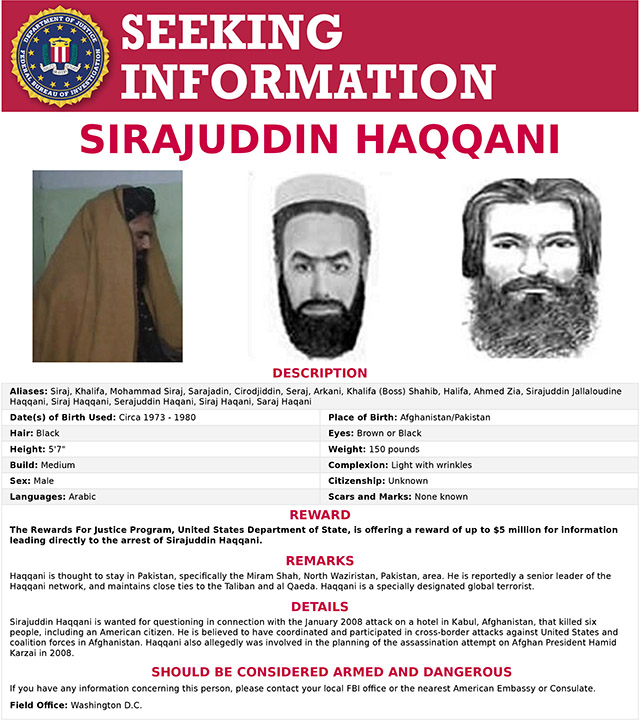 Taliban's interior minister is on FBI's most-wanted list, believed to be holding American hostage