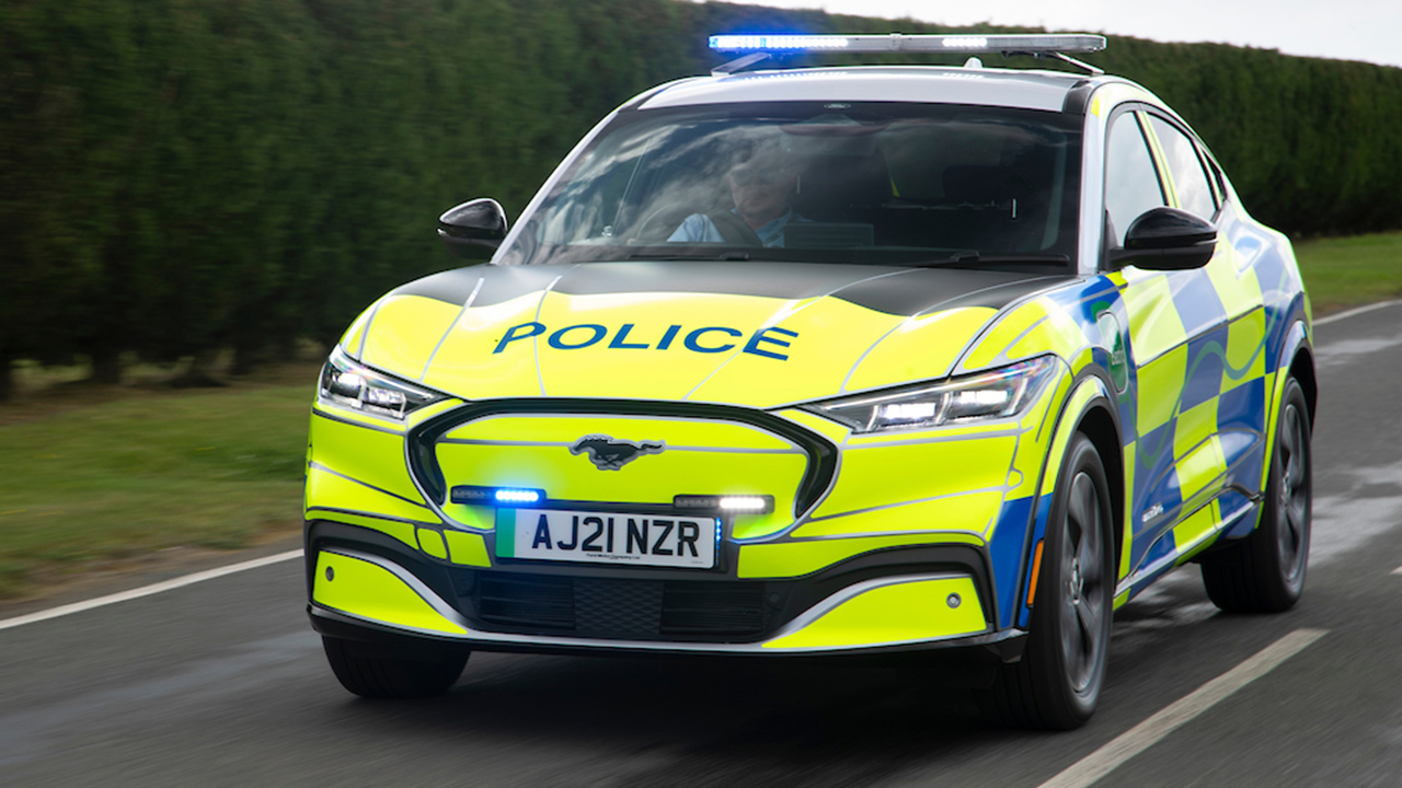 The electric Ford Mustang Mach-E has been recruited by British police
