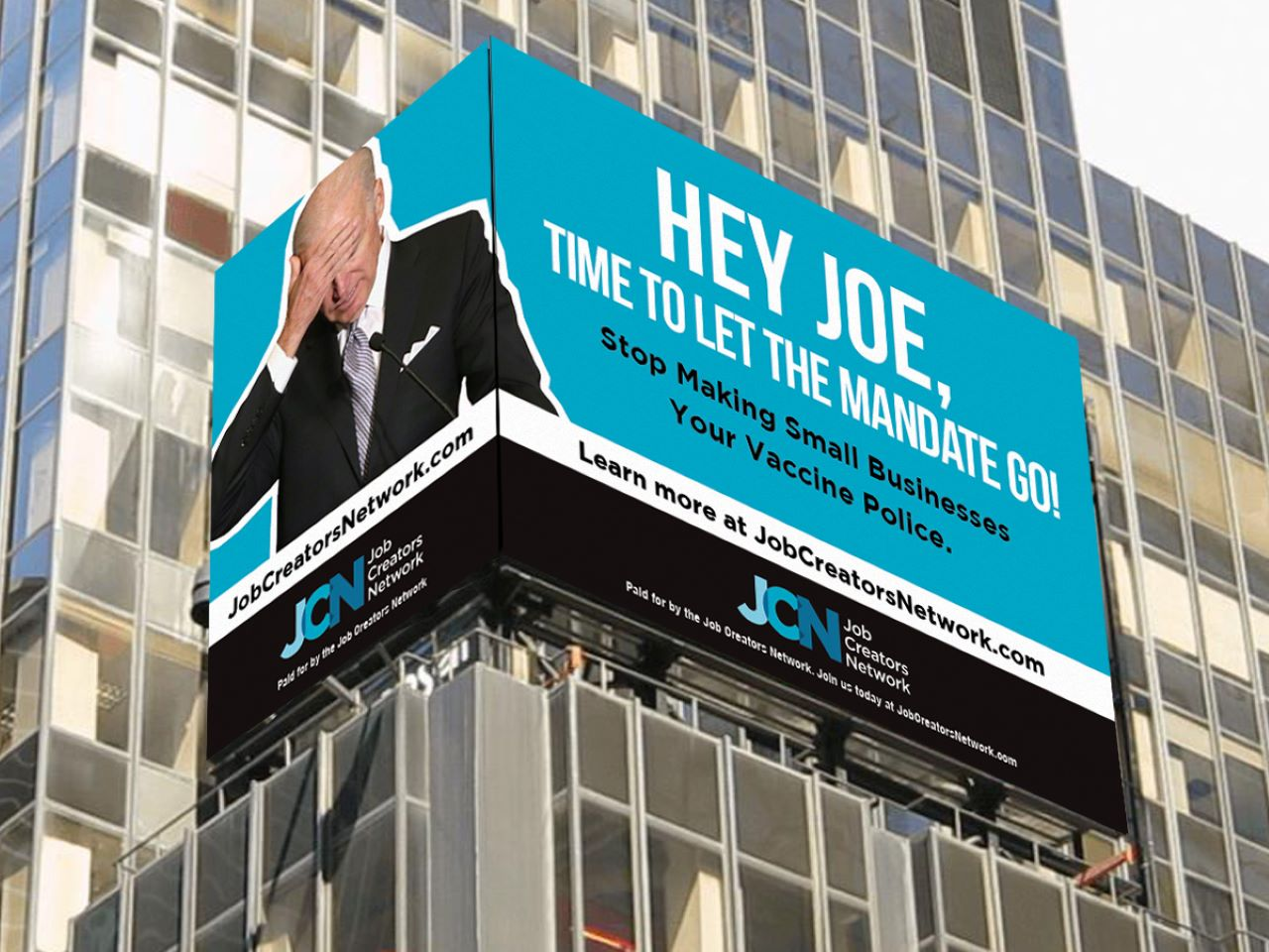 Times Square billboard hammers Biden over forced COVID jabs: 'Hey Joe, time to let the mandate go'