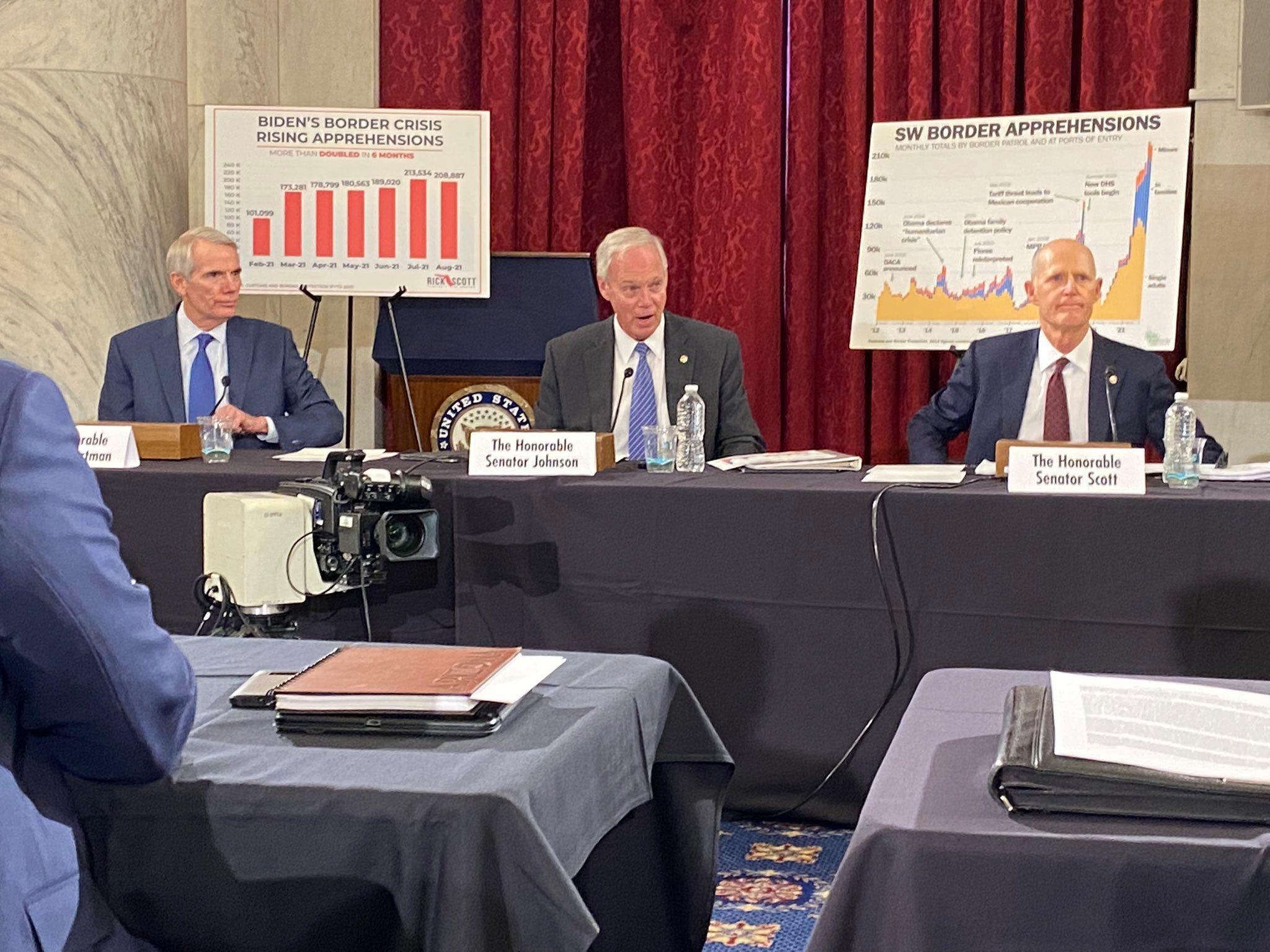 Senate Republicans slam Biden for border crisis, allege Dems won't hold a hearing on migrant surge https://static.foxnews.com/foxnews.com/content/uploads/2021/10/Portman-Scott-Johnson-immigration-roundtable-border.jpeg