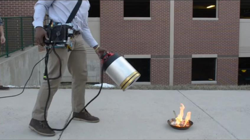 Bass battles blaze: George Mason students invent sound-based fire extinguisher