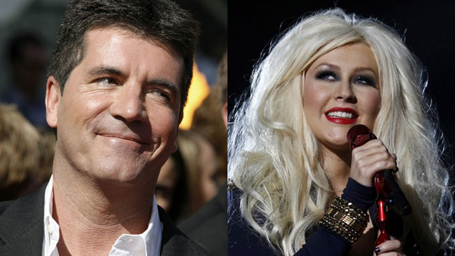 Simon Cowell and Christina Aguilera